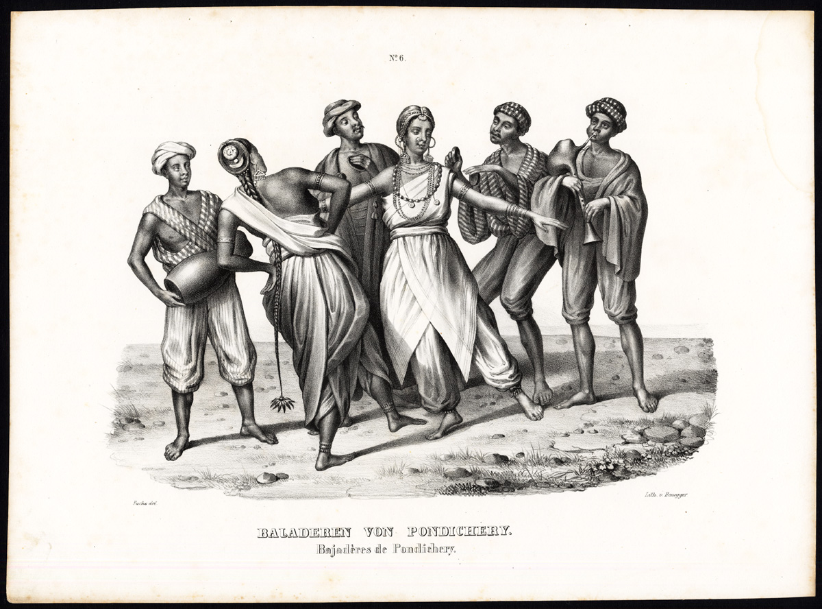 1.南インド・ポンディチェリーの踊り子 Dancing girls of Pondicherry 1836-45. By Heinrich Rudolf Schinz [Public domain], via Wikimedia Commons https://commons.wikimedia.org/wiki/File%3ADancing_girls_of_Pondicherry.jpg