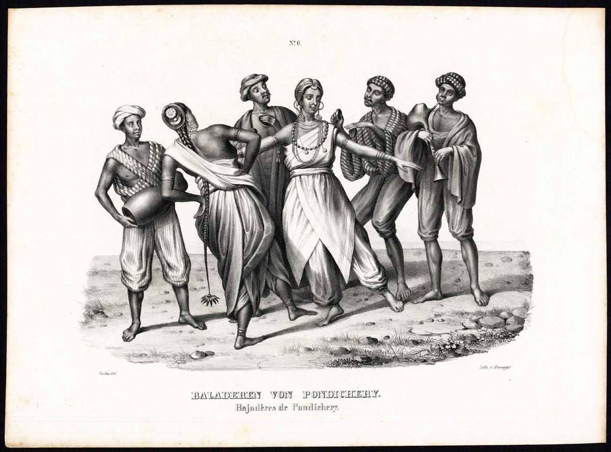 1.南インド・ポンディチェリーの踊り子 Dancing girls of Pondicherry 1836-45. By Heinrich Rudolf Schinz [Public domain], via Wikimedia Commons https://commons.wikimedia.org/wiki/File%3ADancing_girls_of_Pondicherry.jpg